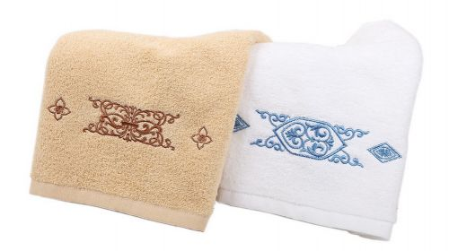 Gentle Meow Set of 2 Fountain Embroidery Cotton Bath Towels Spa/Hotel/Sports Towel Washcloth