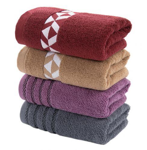 Gentle Meow Set of 4 Striped Geometric Hand Bath Towels Washcloth Family Towels Set 75*34cm