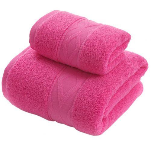 Gentle Meow Geometric Pattern Bath Towels Set Washcloth 1,Bath and 1 Hand/Face Towel Rose