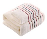 Gentle Meow Cotton Bath Towels Washcloth Spa/Hotel/Sports 1 Bath and 1 Hand/Face Towel,White
