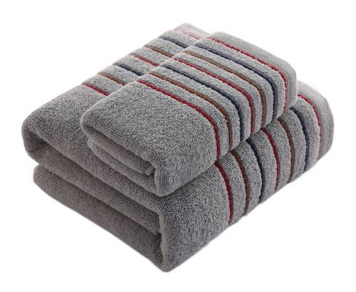 Gentle Meow Cotton Bath Towels Washcloth Spa/Hotel/Sports 1 Bath and 1 Hand/Face Towel,Gray