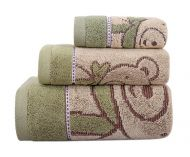 Gentle Meow 3 Pcs Cute Bear Bath Towels Set Cotton Family Towels Washcloth Face Towel Green