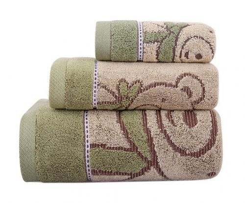 Gentle Meow 3 Pcs Cute Bear Bath Towels Set Cotton Family Towels Washcloth Face Towel Green