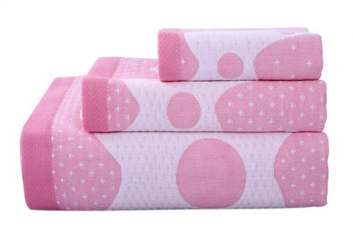 Gentle Meow 3 Pcs Giraffe Bath Towels Cotton Family Towels Washcloth Children Towel Pink