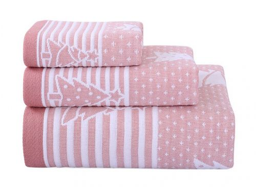 Gentle Meow 3 Pcs Christmas Tree Towels Cotton Family Towels Washcloth Hand/Face Towel Pink