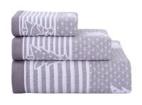 Gentle Meow 3 Pcs Christmas Tree Towels Cotton Family Towels Washcloth Hand/Face Towel Gray