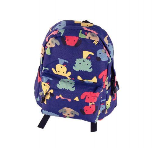 Cute DarkBlue Puppy School Bag Children's Backpack Travel Canvas Backpacks Purse