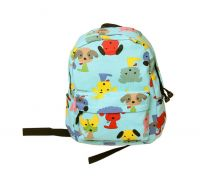 Cute Puppy School Bag Children's Backpack Travel Canvas Backpacks Purse Blue Dog
