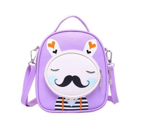 Kids Moustache Rabbit School Bag Cute Travel Shoulder Bag Backpack Purses Purpel
