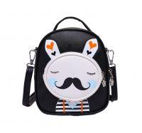 Kids Moustache Rabbit School Bag Cute Travel Shoulder Bag Backpack Purses Black