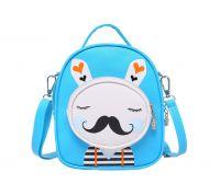 Kids Moustache Rabbit School Bag Cute Travel Shoulder Bag Backpack Purses Blue