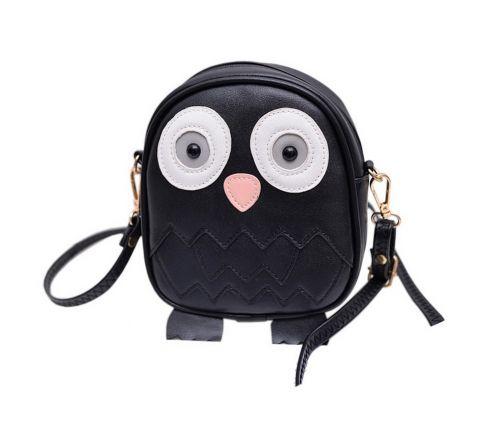 Cute Owl Children Travel Shoulder Bag Kids Backpack Purses School Bag Black