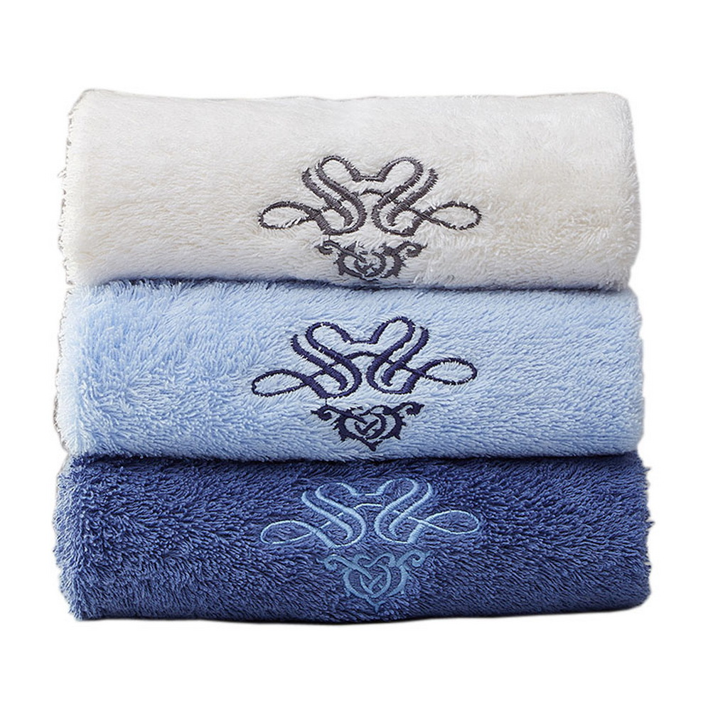set of 3 bath towel set spa hotel sports towels washcloth beige blue